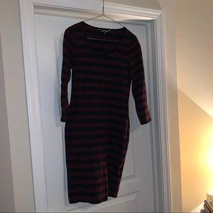 Express wine and black striped dress